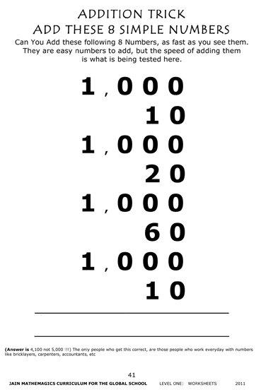 CURRICULUM Vol 5, RAPID MENTAL CALCULATION, eBOOK: Workbook Level 1 - Jain  108